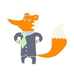flat color style cartoon fox businessman