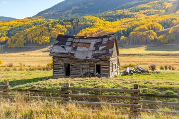 An old barn in autumn in Colorado