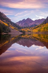 Maroon bells at sunset in autumn  - Colorado