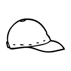 line drawing cartoon baseball cap
