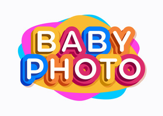 Vector baby photo logo cartoon colorful style for kids play, game zone, shop, baby club, children school, clothes, play room, toys shop, cafe, banner, education club, kid store, firm. 10 eps