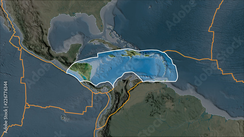 Caribbean Topographic Map.Outlined Caribbean Tectonic Plate On The Topographic Map Separated
