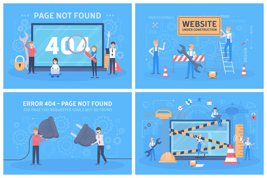 Oops 404 error page not found concept set