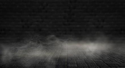 Background of an empty dark street, wet asphalt.
