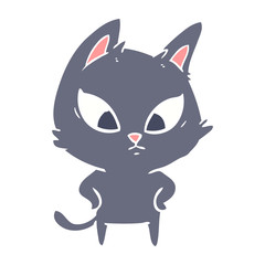 confused flat color style cartoon cat