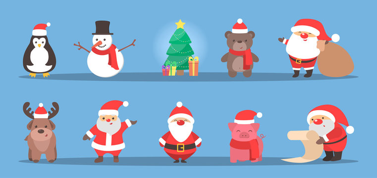 Cute christmas character celebrating a holiday set.