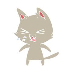 flat color style cartoon cat hissing