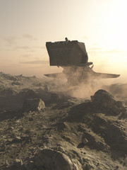 Spaceship landing on A Rocky Planet - science fiction illustration