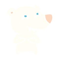 flat color style cartoon polar bear showing teeth