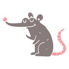 flat color style cartoon rat