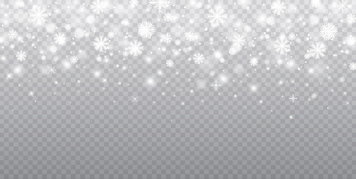 Stock vector illustration falling snow. Snowflakes, snowfall. Transparent background. Fall of snow.