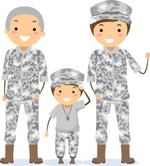 Stickman Military Grandpa Father Son Illustration