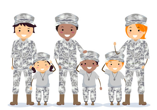 Stickman Family Military Army Brats Illustration