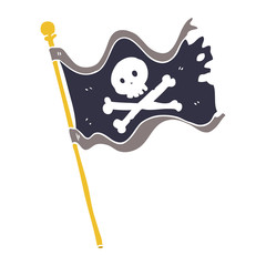 flat color style cartoon pirate flag