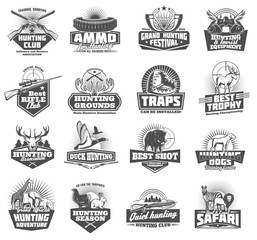 Hunting club icons. Vector animals and ammunition