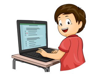 Kid Boy Computer Based Test Illustration