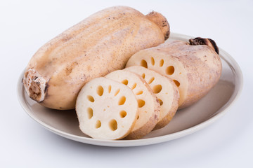 Lotus root on a plate. Natural and healthy food