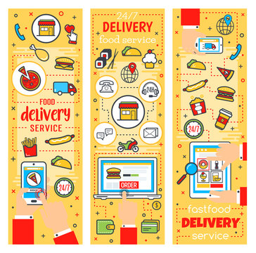 Fast food delivery service, vector