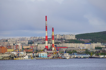 Seascape in the Kola Strait overlooking the ships and the city.