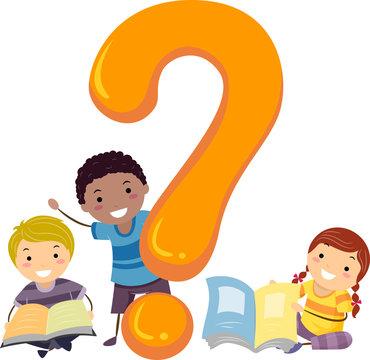 Stickman Kids Question Mark Books Illustration