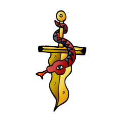 cartoon doodle dagger and snake tattoo