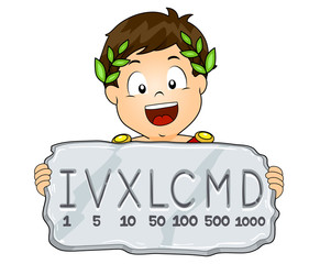 Kid Boy Roman Numeral System Illustration