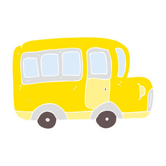 flat color illustration of a cartoon yellow school bus