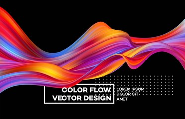 Modern colorful flow poster. Wave Liquid shape in color background. Art design for your design project. Vector illustration Wall mural
