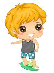 Kid Boy Skimboard Illustration
