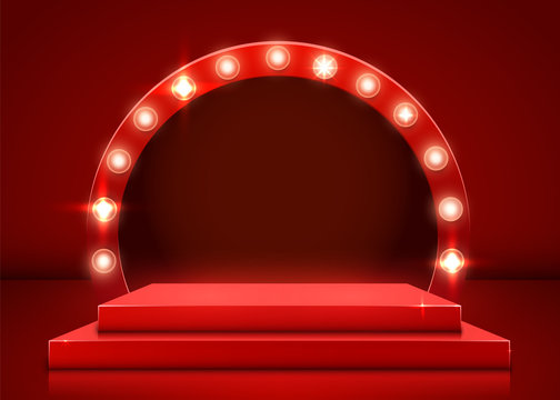 Stage podium with lighting, Stage Podium Scene with for Award Ceremony on red Background. Vector illustration