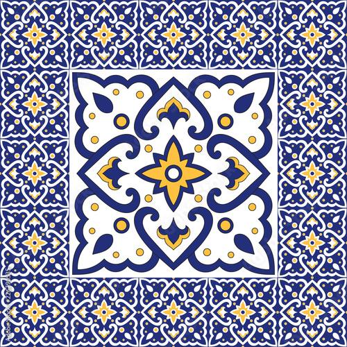 Spanish Tile Pattern Vector Ornaments Vintage Barcelona Mosaic
