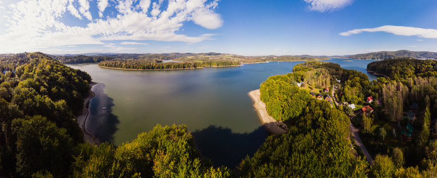 Beautiful panorama of Lake Solina. Bieszczady, Poland. Aerial view, view from the drone