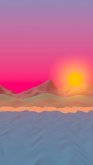 Sun Sea Beach. Sunset. Ocean shore line with waves on a beach. Island beach paradise with waves. Vacation, summer, relaxation. Seascape, seashore. Minimalist landscape, primitivism. 3D illustration