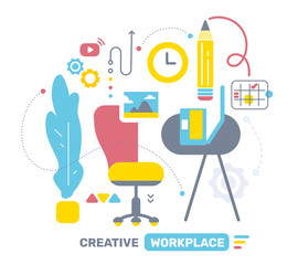 Vector illustration of color side view interior home office room workspace with icon.