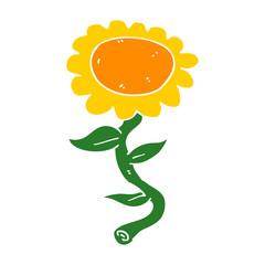 flat color style cartoon sunflower
