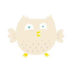 flat color illustration of a cartoon happy owl