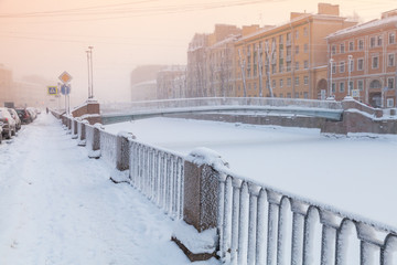 Griboyedov Canal view at winter day