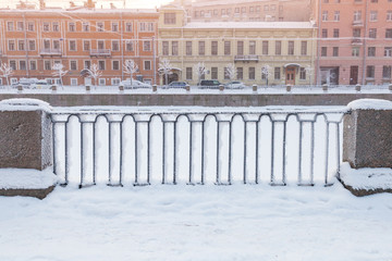 Griboyedov Canal forged fence in winter