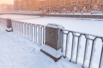 Griboyedov Canal coast at winter day