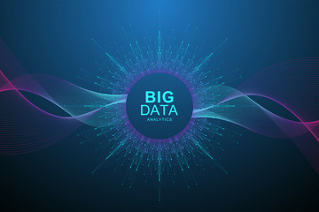 Big data visualization. Graphic abstract background Artificial Intelligence and Machine Learning. Perspective backdrop of depth. Virtual minimal array with compounds. Vector illustration Big data.