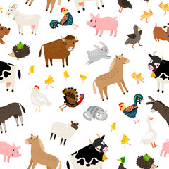 Farm animals pattern on white background, vector illustration