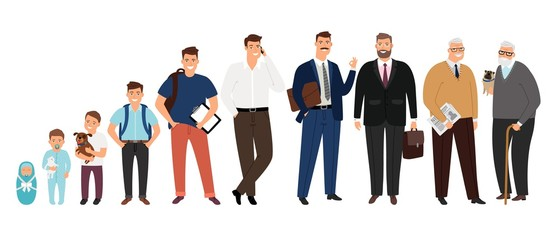Man aging. Different male ages stages isolated on white background, human generations or man life cycle cartoon vector illustration