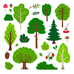 Cartoon forest tree set. Simple vector green tree set isolated on white background