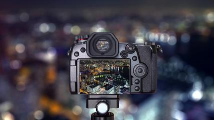 Digital camera with Yokohama night light cityscape 1