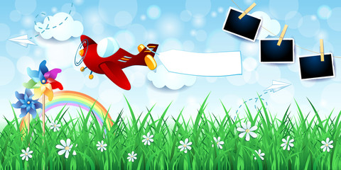 Spring landscape with airplane, banner and photo frames