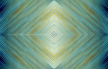 Rhombus bright turquoise green, blue and yellow. Abstract technology background for templates, layouts, web pages. Kaleidoscope symmetric effect with strips and geometric shapes