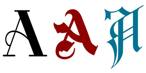 The letter A in three different calligraphy styles