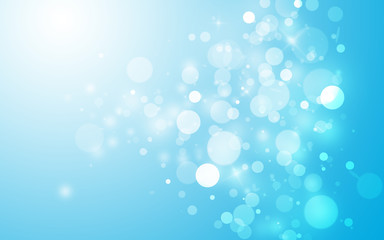 Soft blue sparkle rays lights with bokeh elegant show on stage abstract background. Dust sparks background.