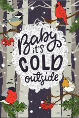 Baby It's Cold Outside hand lettering greeting card