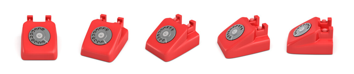 3d rendering of five isolated red retro rotary phones without receivers standing in different angles.